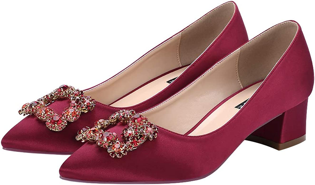 8b2e0a0908e Women Comfort Low Heel Closed Toe Rhinestone Wedding Evening Satin Shoes