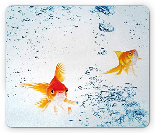 Aquarium Mouse Pad, Under The Aquarium Theme Cute Swimming Goldfishes with Vivid Bubbles Image, Standard Size Rectangle Non-Slip Rubber Mousepad, Blue Orange Yellow,8.66 x 7.08 x 0.118 Inches