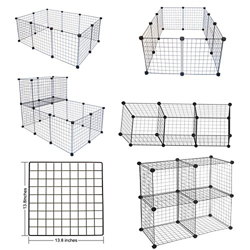 LANGXUN 16pcs Metal Wire Storage Cubes Organizer, DIY Small Animal Cage Rabbit, Guinea Pigs, Puppy | Pet Products Portable Metal Wire Yard Fence (Black, 16 Panels) by LANGXUN (Image #4)