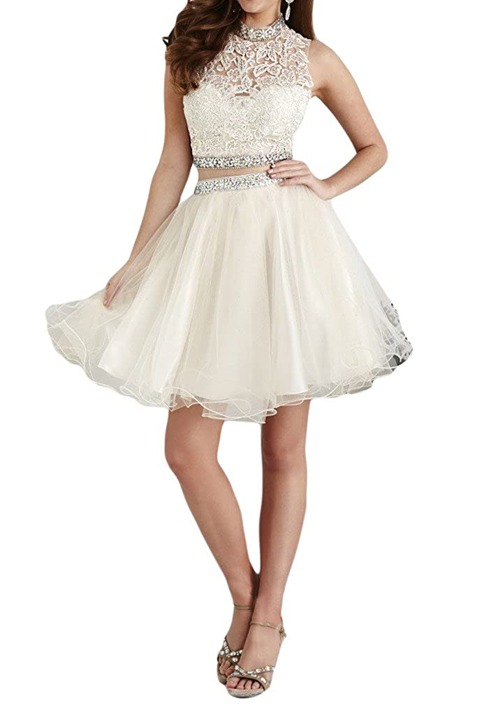 La Mariee Two Pieces A-Line Tulle Lace Short//Mini Cocktail Party Dress For Girl