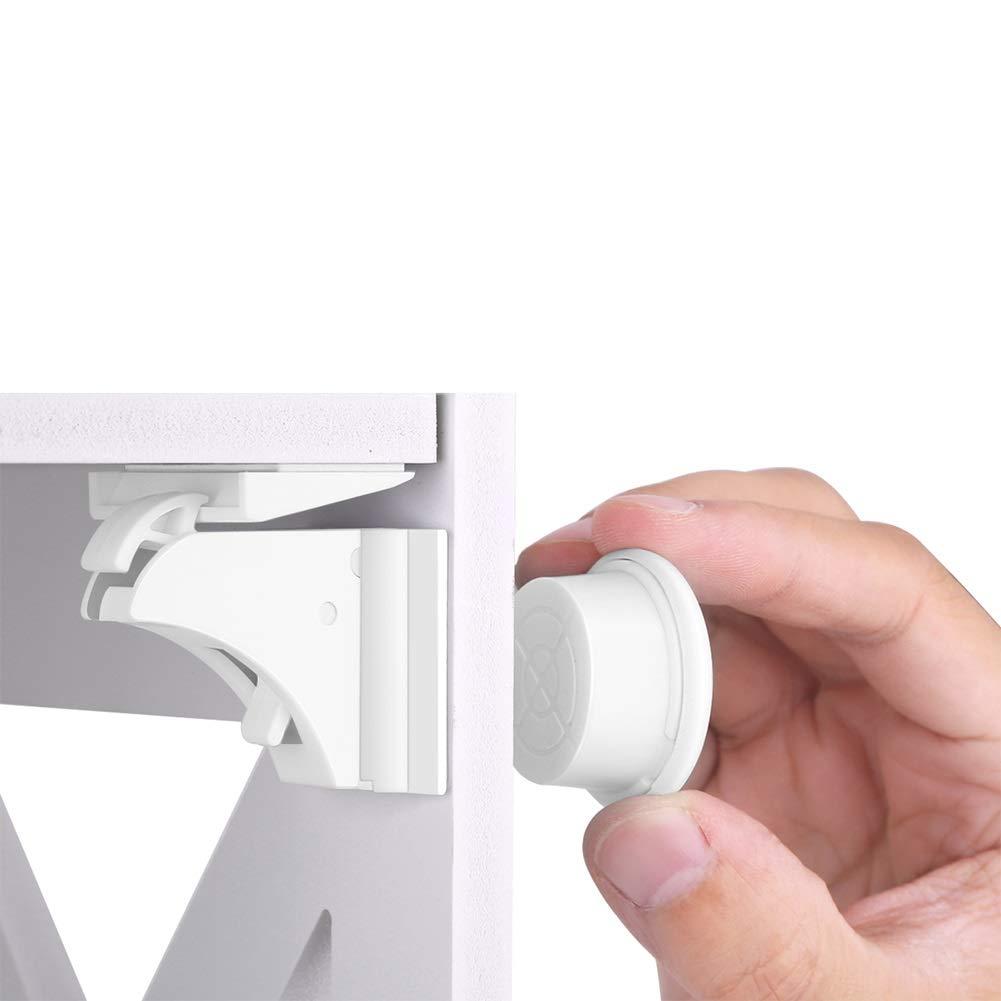 10 Schl/össer Filfeel Kindersicherheit Magnetisches Schrankschloss 2 Schl/üssel Baby Safety Magnetic Cabinet Lock Set Kindersicherung Kinder Kleinkind Proofing