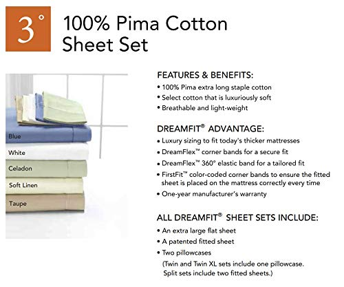 Degree 3 DreamFit 100% Pima Cotton Sheets-Split King