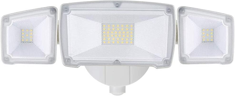 GLORIOUS-LITE Flood Lights Outdoor, 30W Security Light with 3000LM, IP65 Waterproof ETL Listed, 5500K White Light, Adjustable 3 Heads Wall Motion Sensor Light for Garage, Backyard,Patio