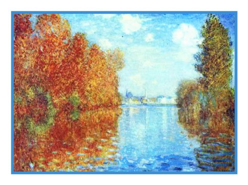 Autumn in Argenteuil France by Claude Monet Counted Cross Stitch Pattern