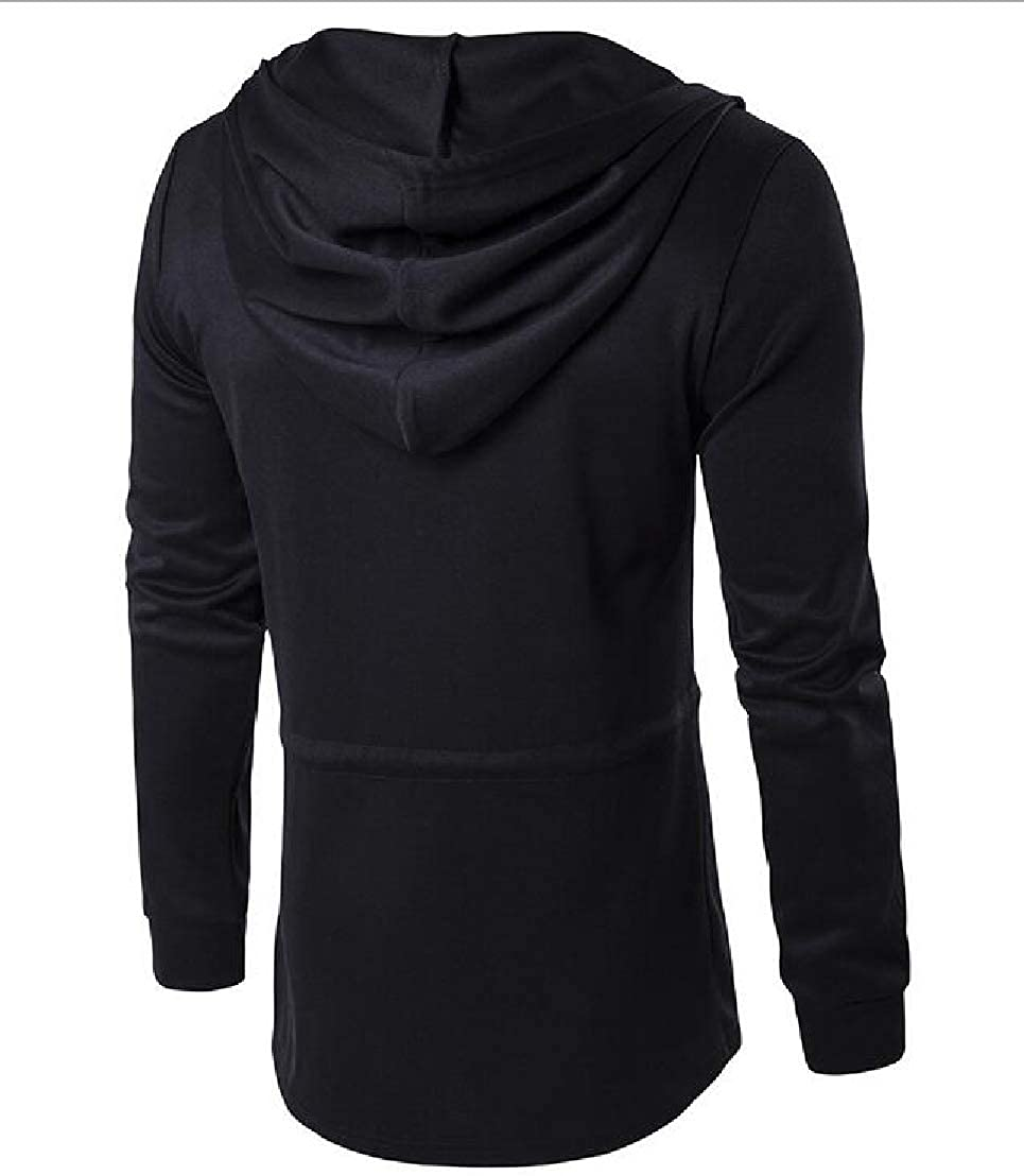 Wofupowga Mens Casual Black Hooded Cardigans Zip-Up Drawstring Sweatshirts