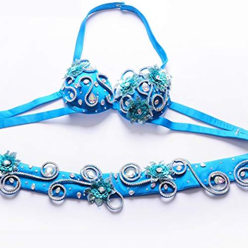 Performance Tenue Vêtements Top 2 Main Blue À Pcs De Du Perlée Professionnelle l Danse Ventre La Pour Femme Wqwlf Bra Ceinture Perceuse pd0qzp