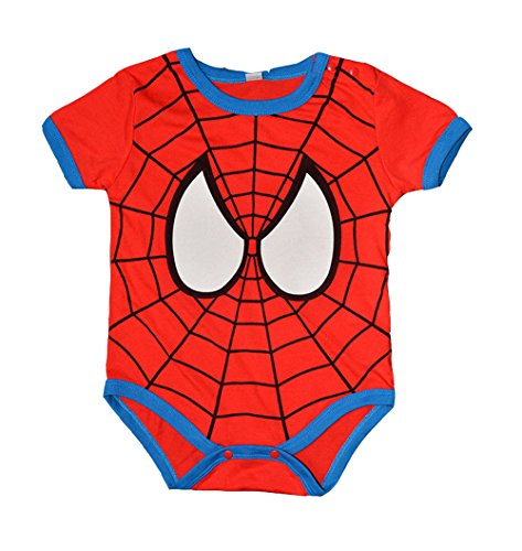 Peachi Spider-Man Short Sleeve Onsie Baby Toddler Infant Rompers Unisex 12m-3T (12-24M (80CM))
