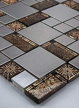 11 Tapis 1 m² Verre Carrelage mosaïque acier inoxydable doré ...