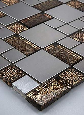 MUSTER Glas Metall Mosaik Fliesen Schwarz Gold Bronze