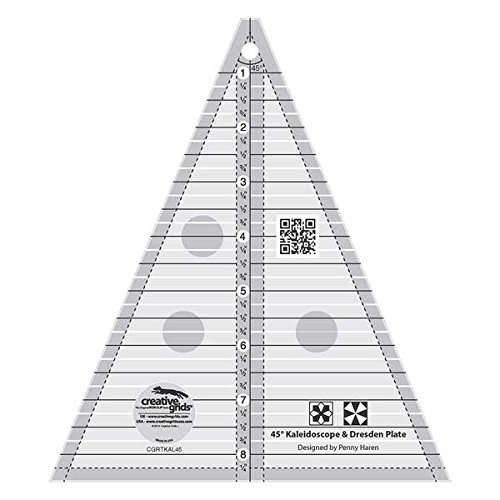 Creative Grids 45 Degree Kaleidoscope or Dresden Plate Triangle Quilting Ruler Template CGRTKAL45