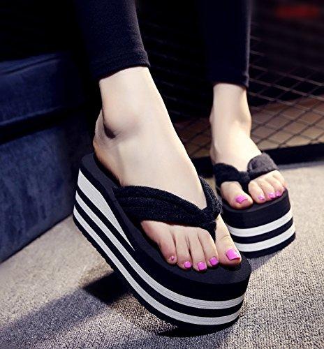 37 anti ciabattine skid cartella XIAMUO spesso floral sandali la flop trascinare per nero 7CM le fondo flip cuneo 38 Estate di tumbler 8cm con marea alta scarpe spiaggia donne da A0ZFwqA