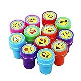 Lanlan 12pcs Plastic Stamps Different Emoji Patterns Print Craft Art Ink Set Kindergarten Teacher Prizes Props Children's Day Christmas New Year Birthday Toy Gift Party Favor Set No Need Inkpad