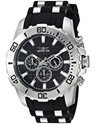 Invicta Mens Pro Diver Quartz Stainless Steel and Silicone Casual Watch, Color:Black (Model: 22555)