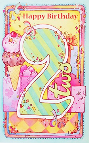thday Greeting Card - Two Years Old (Unisex for Boy/Girl) - Ice Cream Theme ()