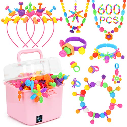 BATTOP Pop Beads 600 PCS Pop Snap Beads Set for 4 5 6 7 8 Years Old Girls Jewelry Making Kit DIY Jewelry Toys Necklaces Rings Earrings Hairbands and Bracelets
