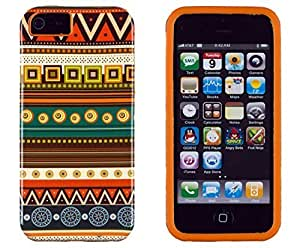 Sunshine Case 2in1 Hybrid High Impact Hard Aztec Tribal Pattern + Orange Silicone Case Case Cover For Apple iPhone 5S & iPhone 5 (not 5C) + Sunshine Case Screen Cleaner