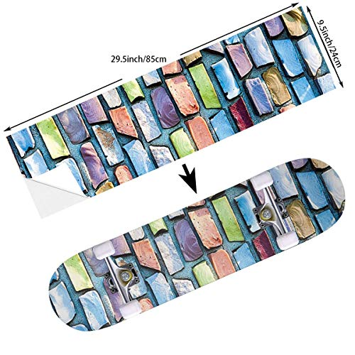STREET FFX Fashion Funny Skateboard Cruiser Deck and Balance Board Stickers Decals Grip Tape - 9.5 x 33.5 Inches - Colorful Mosaic Textured Sketchy Brick Wall Display Glossy Grid Modern Artwork