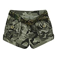 FEOYA Women Camouflage Camo Printed Shorts Army Combat Short Pants - 4 Sizes