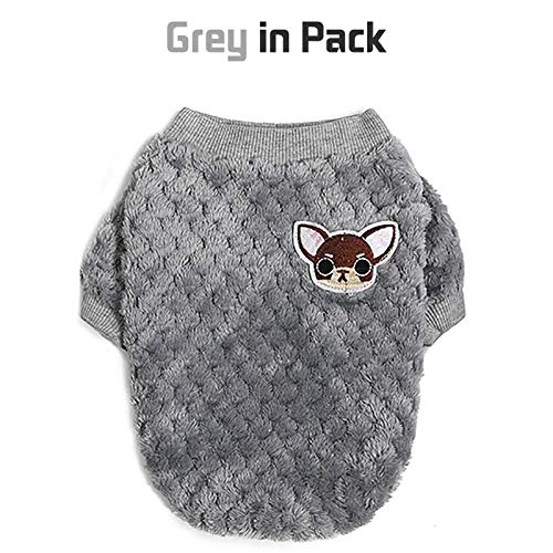 2 Pieces Dog Sweater for Small Medium Large Dog or Cat, Warm Soft Flannel Pet Clothes for Puppy, Small Dogs Girl or Boy, Dog Sweaters Vest Shirt Coat Jacket for Winter Christmas (M, Grey+Sky Blue)