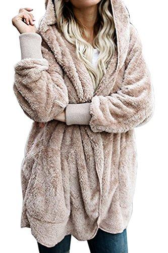 Chaquetas Capa Externa Zilcremo Furry Albaricoque Abierto Cardigan Frente Mujeres Warm Chaqueta Casuales Fleece con Capucha Tops aqAO5HwAf