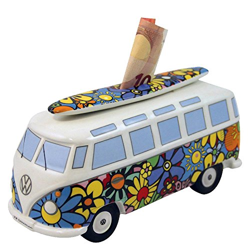 VW Collection by BRISA VW T1 Bus Money Bank with Surf Board (1:18) - Flower Power -