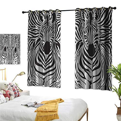 Warm Family Turquoise Curtains Zebra Print,Illustration Pattern Zebras Skins Background Blended Over Zebra Body Heads,Black White 63