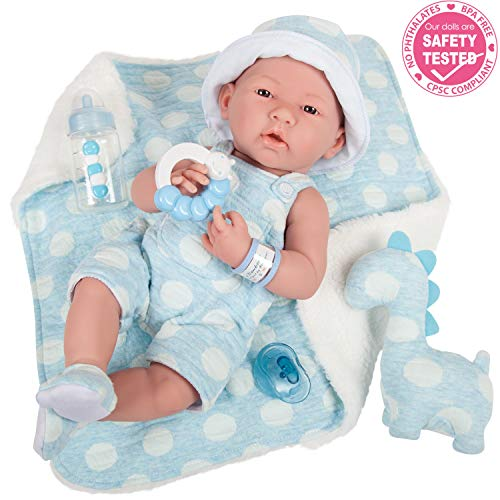 "JC Toys La Newborn All-Vinyl-Anatomically Correct Real Boy 15"" Baby Doll in Blue and Deluxe Accessories, Designed by Berenguer."