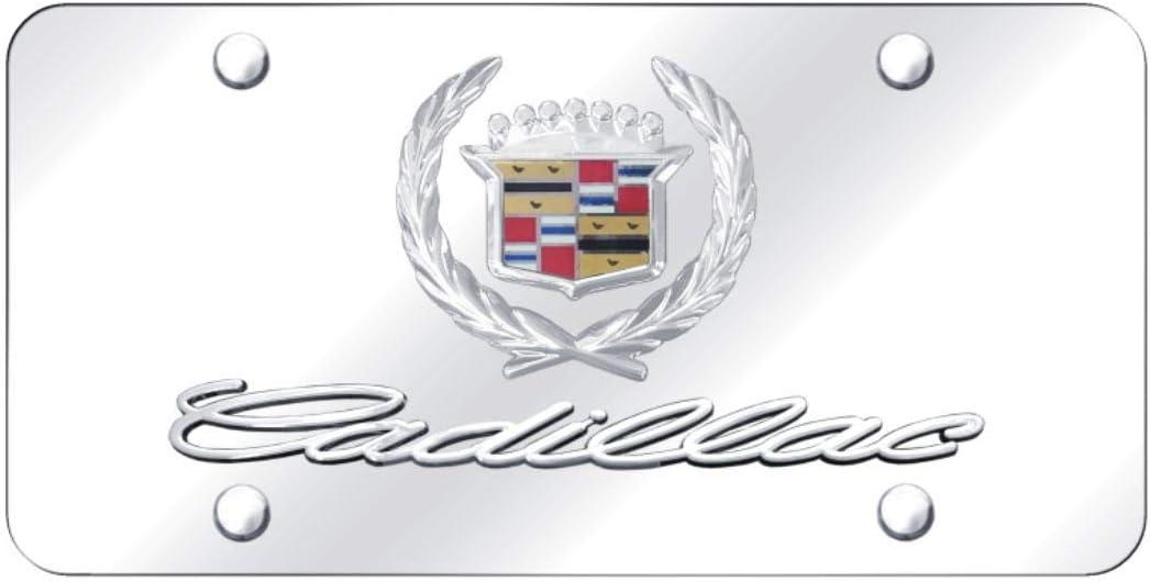 Cadillac Classic Logo on Black Metal License Plate Au-Tomotive Gold INC