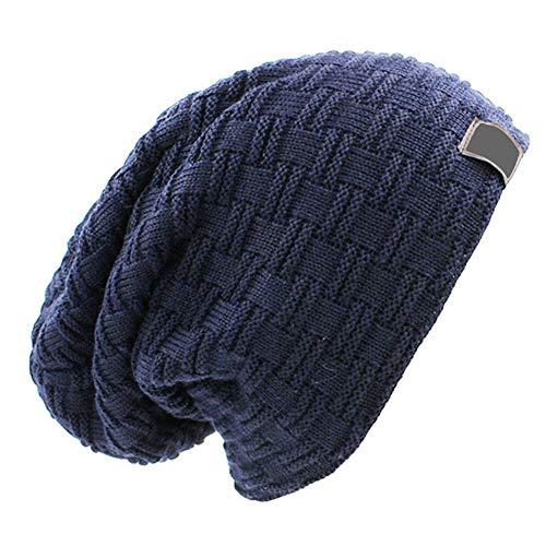 YOTHG - Gorro Unisex de Punto cálido de Lana sintética para Hombre y Mujer, Azul Marino, Talla única