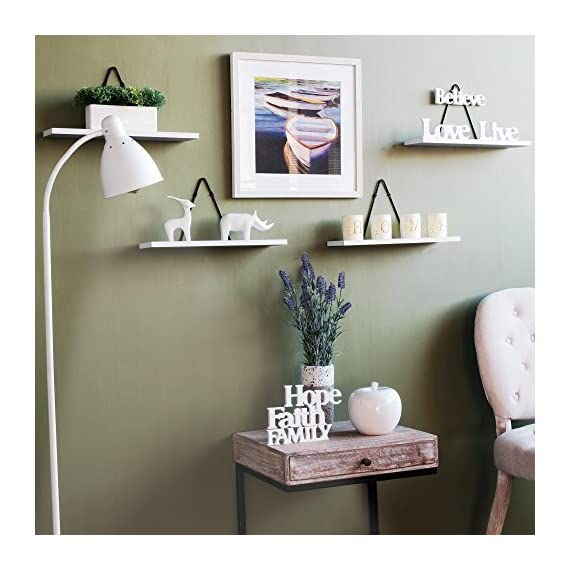 Rustic State Wall Mount Floating Shelves - Wood with Triangle Bracket - Set of 2 (White) - Professional Hands, No Longer Needed: Each wall shelf comes with a triangle bracket to add flair and design to an ordinary wall book storage. All the mounting hardware is also included in the packaging for your convenience. Please make sure you mount it on a wall stud using a stud finder with the strong metal zinc anchors provided to you. Made with Quality Craftsmanship: These shelves are well-constructed with high-quality iron material wall brackets. The shelves also come in the perfect size. Each shelf is 16 ½ x 4 ½ inches while the triangle brackets stand 8.25 inches tall, giving you the flexibility to dress up your walls while organizing your space with style. Rustic Design Done Right, No More Wobbling: The triangle brackets hang flat to your wall surface and the wood light duty shelving units attach to the brackets with ease, so your shelves stay steady and solid for years to come. - wall-shelves, living-room-furniture, living-room - 51fYxgI%2BOVL. SS570  -