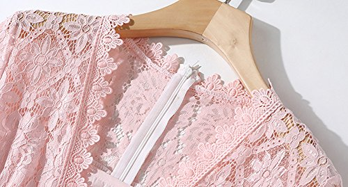 Sleeve Line Evening Midi Pink Dress A Hollow DISSA YL08609 Solid Party Women Lace Short W6THfn