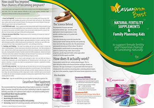 CassanOvum Boost, for quality and quantity, healthy and mucus, and Herbal (Evening Primrose, Chaste Root, Licorice Root, Clover and Ashwaganda - 30 Capsules