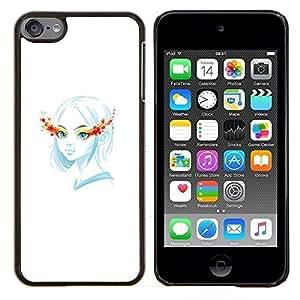 TECHCASE---Cubierta de la caja de protección para la piel dura ** Apple iPod Touch 6 6th Touch6 ** --Blue Girl