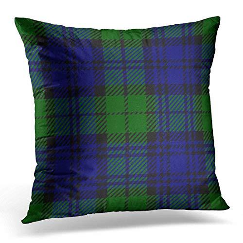 (TOGEFRIEND Throw Pillow Cover Blue 3Rd Black Watch Tartan Plaid Green Battalion Decorative Pillow Case Home Decor Square 18x18 Inches Pillowcase)