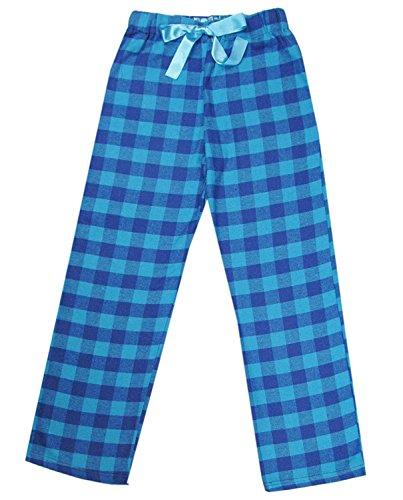 J. Ann Junior's 100% Cotton Super Soft Flannel Plaid Pajama/Lounge Pants (Teal Plaid, Medium)
