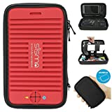 Sisma Travel Organizer Cord Charger PowerBank Carry Case Electronics Bag with Audio/Charging Output for Mobile Power Bank Cables Charger Earphones More Small Parts (Red - Bundle Small Pouch)