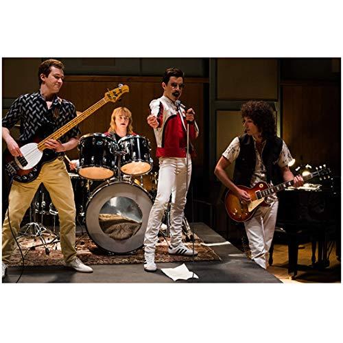 Bohemian Rhapsody 8Inch x 10Inch photo Joe Mazzello, Ben Hardy, Rami Malek and Gwilym Lee on-set photo on rehearsal stage ed