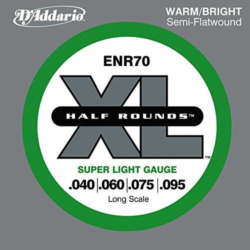 D'Addario ENR70 Half Round Bass Guitar Strings, Super Light,