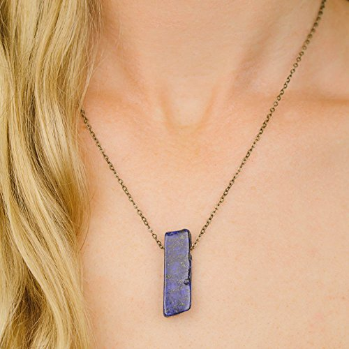 (Small slab lapis lazuli crystal necklace in bronze - 16