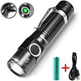 USB Rechargeable Flashlight, LED Flashlight Torch, 750 Lumens Ultra Bright Flashlight with 4 Modes Clip Flashlight, Waterproof IPX-6 Torch Light for Hiking Camping (18650 Batteries Included)