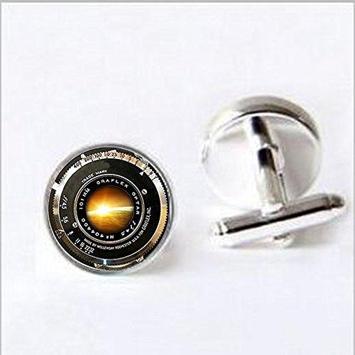VINTAGE CAMERA LENS Ornament Antique Camera Lens Cufflinks Gray Black White Photography Cufflinks Photographer SunriseNot An Actual Lens