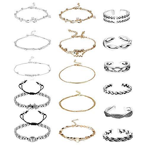 Adramata 16 Pcs Open Toe Rings for Women Girls Anklets Chain Bracelets Adjustable Beach Foot Jewelry