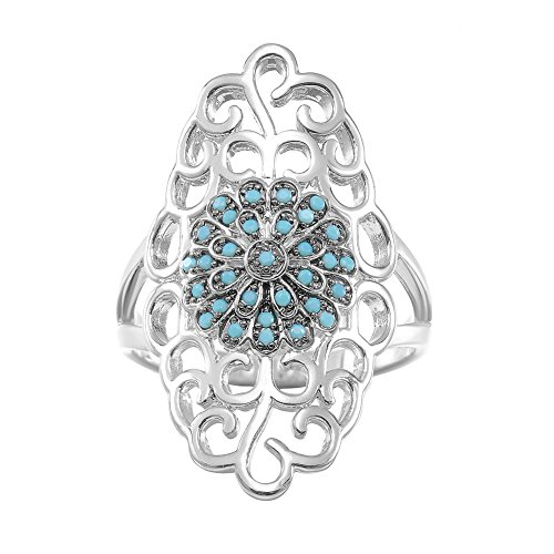 KIVN Fashion Jewelry Classic Pave CZ Cubic Zirconia Filigree Antique Vintage Rings for Women (Turquoise, ()