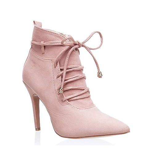 Las Mujeres De Encaje-hasta Los Botines De Invierno con Tacones Altos con Corto De Moda De Felpa Botas Calientes De La Motocicleta: Amazon.es: Zapatos y ...