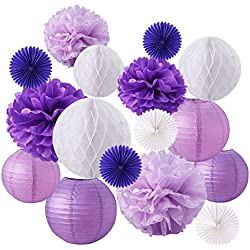 BENECREAT 16 Pieces Purple White Theme Paper Pom Poms Paper Flowers Paper Lanterns Honeycomb Balls Tissue Fans - Perfect For Wedding Decor, Birthday Celebration, Table and Wall Decoration