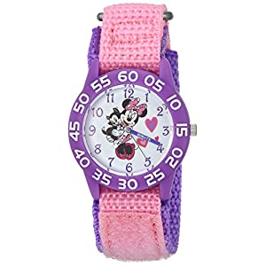 DISNEY Girls Minnie Mouse Analog-Quartz Watch with Nylon Strap, Pink, 16 (Model: WDS000165)
