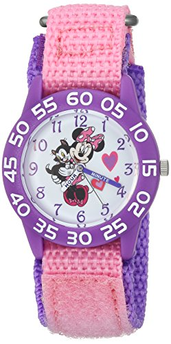 (DISNEY Girls Minnie Mouse Analog-Quartz Watch with Nylon Strap, Pink, 16 (Model: WDS000165) )