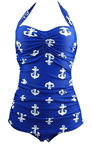 Cocoship Vintage Hibiscus Anchors Swimsuit