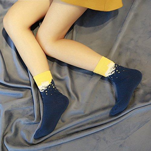 5 Paires Chaussettes Coton Colorées de Chat Mignon pour Femme