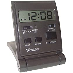 Westclox Travelmate Folding Alarm Clock, Black
